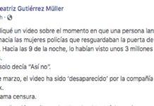 Beatriz Gutiérrez Müller denuncia censura, Facebook elimina publicación