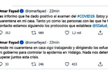 Hidalgo, gobernador en cuarentena por coronavirus