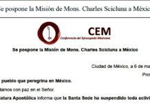 Vaticano pospone visita a México