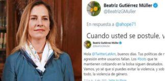 Beatriz Gutiérrez responde y pide a Twitter identificar bots
